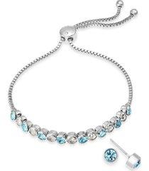 charter club 2-pc. set crystal birthstone bolo bracelet & stud earrings, created for macy's