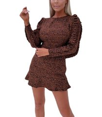 ax paris animal print pleated sleeve skater dress