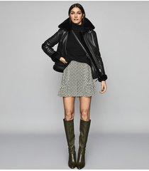 reiss ellie - pin tucked printed mini skirt in black & white, womens, size 12