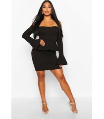 off the shoulder peplum mini dress, black
