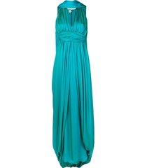 hermès pre-owned pleated cape detail dress - blue