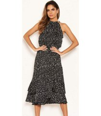 ax paris women's spotty high ruffle neck midi dress