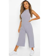 petite soft rib racer top & culottes co-ord, grey