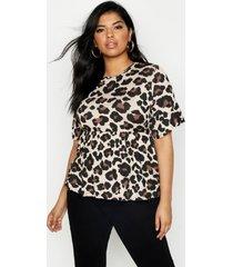 plus leopard print smock top, tan