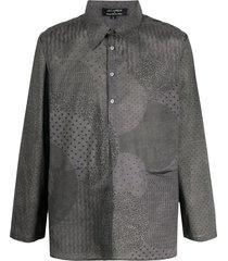 rajesh pratap singh mixed pattern pouch pocket shirt - grey