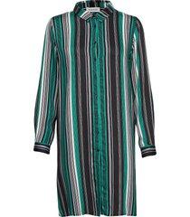 dhfifi long shirt print striped kort klänning grön denim hunter