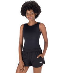 body fitness oxer recortes mesh - feminino - preto