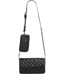 mali + lili winslet quilted vegan leather crossbody bag with detachable phone case - black