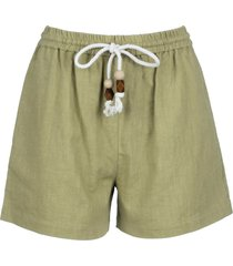 olive linen high waisted shorts