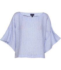 d2. linen stripe top blouse lange mouwen blauw gant