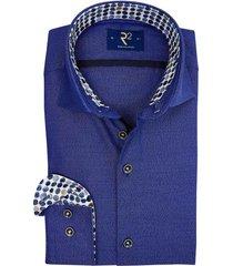 overhemd r2 blauw stippen in boord