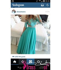blue prom dress,long evening dresses,long sleeves lace party bridesmaid gown n18