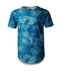 camiseta masculina longline swag sereia e plantas marinhas
