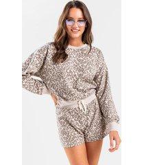 sita leopard front tie lounge sweatshirt - brown