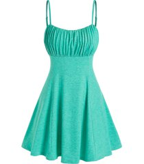 thin straps ruched bust mini dress