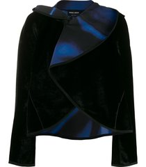 giorgio armani draped collar velvet jacket - black