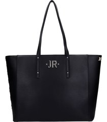 john richmond hunting tote in black leather
