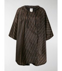 fendi ff motif print flared cape
