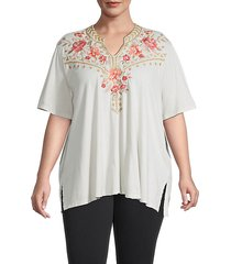 plus rianne floral-embroidered tunic