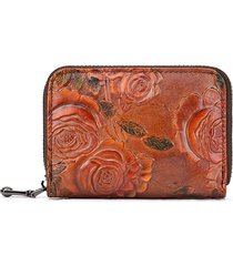 brenice donna vintage casual portacarte floreale in pelle vera portafoglio portamonete