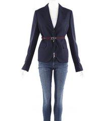 prada blue wool blend belted blazer blue sz: s