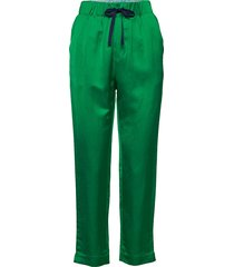tailored jogger pants in viscose-linen quality pantalon met rechte pijpen groen scotch & soda