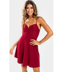 ashlinn lace bodice flare mini dress - wine