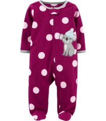 carter's baby girl 1-piece koala fleece footie pjs
