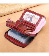 retro vera pelle multi-slot 24 porta carte di credito portafoglio corto portafoglio