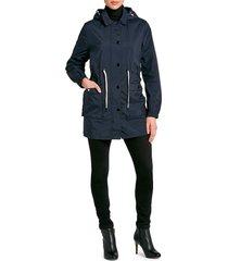 jane post women's cinch-waist parka - navy - size m