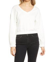 women's bp. v-neck fleece sweatshirt, size small - ivory