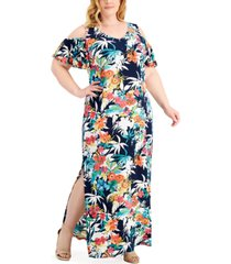 connected plus size printed cold-shoulder maxi dress