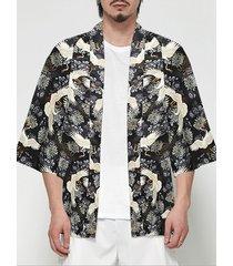chaqueta de punto con estampado floral de animales de grúa de abrigo de protección solar retro de estilo chino informal para hombre
