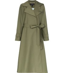 anouki belted lightweight trench coat - green