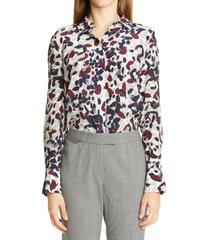 women's lafayette 148 new york scottie silk blouse, size x-large - grey