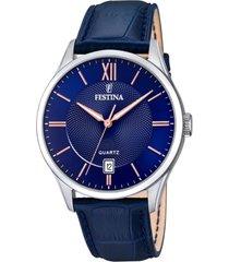 reloj acero clasico azul festina
