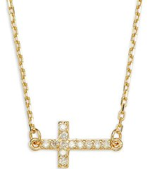 14k yellow gold & diamond horizontal cross pendant necklace