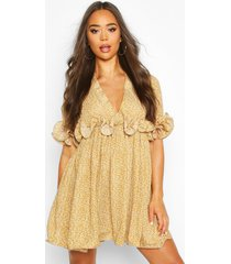 floral pleated plunge neck skater dress, mustard