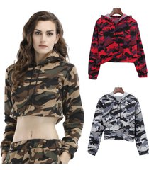 autumn women fashion casual camouflage long sleeve crop top hoodie sweatshirt