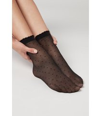 calzedonia classic patterned socks woman black size tu