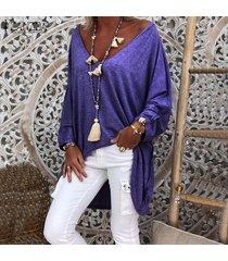 zanzea mujeres batwing manga asimétrica alto bajo tapas de la camisa de la blusa de gran tamaño tee -púrpura