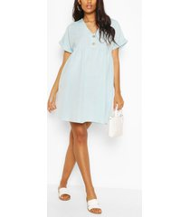 maternity button front linen smock dress