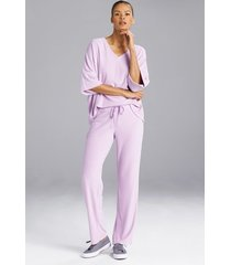 n terry lounge pants pajamas, women's, grey, size l, n natori