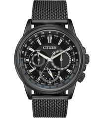citizen eco-drive men's calendrier black stainless steel mesh bracelet watch 44mm