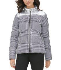 calvin klein houndstooth-print metallic-trim puffer jacket