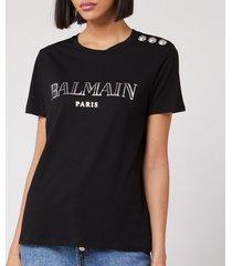 balmain women's short sleeve 3 button metallic vintage logo t-shirt - black/ silver - xs