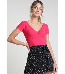blusa feminina cropped canelada com transpasse manga curta pink