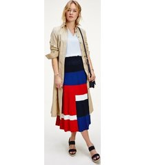 tommy hilfiger women's colorblock pleated skirt red / white / blue colorblock - xs