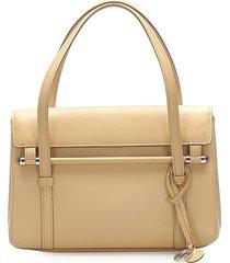 cartier happy leather handbag brown, beige sz: m