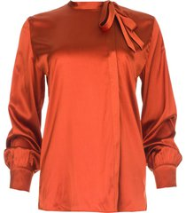 zijden blouse anaise  roestbruin